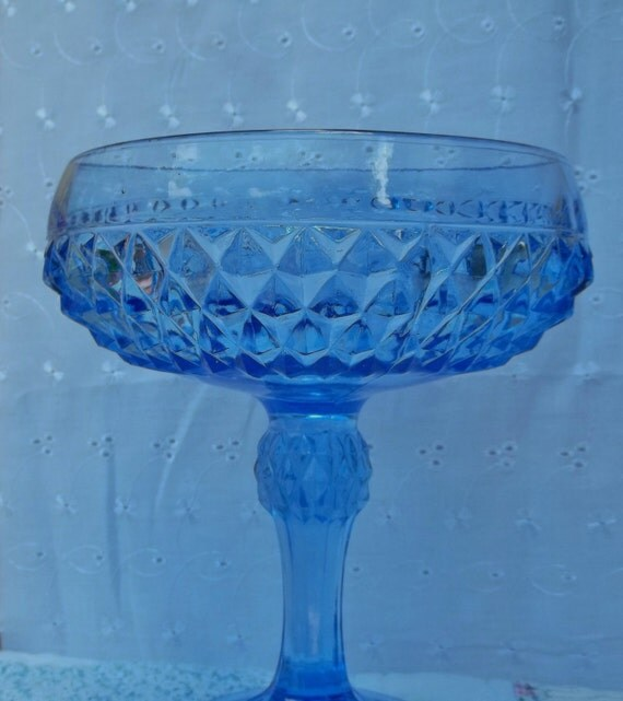 Vintage Blue Glass Diamond Point Pattern Pedestal Bowl