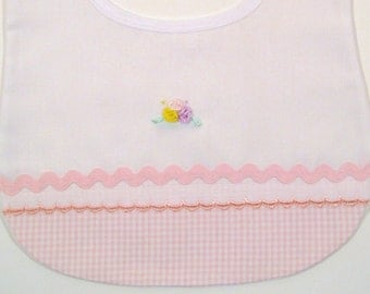 Bibs for babies, pink Bib for a Baby Girl, accented with a hand embroidered roses, pink gingham fabric, rick rack trim, and.  lace,