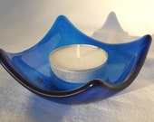 Small Blue Glass Trinket Bowl or Candle Holder