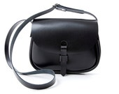 Leather Saddle Bag Black