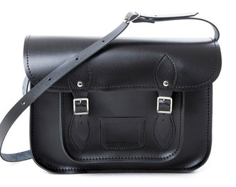 "Leather School Satchel 13"" Black"