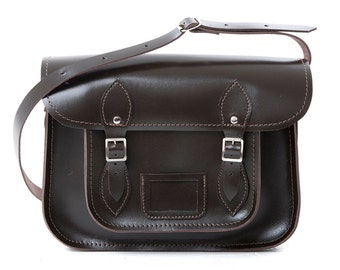 "Leather School Satchel 13"" Dk Brown"