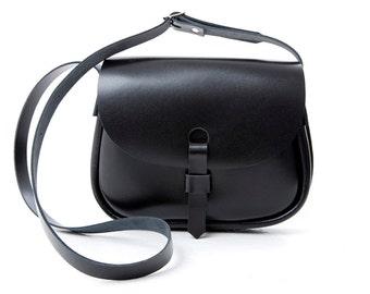 Leather Saddle Bag Black