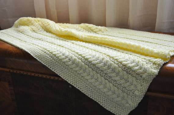 Knitted Baby Blanket, Light Yellow with Cables