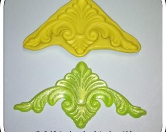 Fleur De Lis scroll applique silicone mold