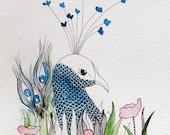 """Blue Hiding Peacock Bird Watercolour Zentangle Art Drawing 8x10"""" Print (unframed)"""
