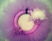 Lavender Tulle Wreath with white feathers and crystal rosettes