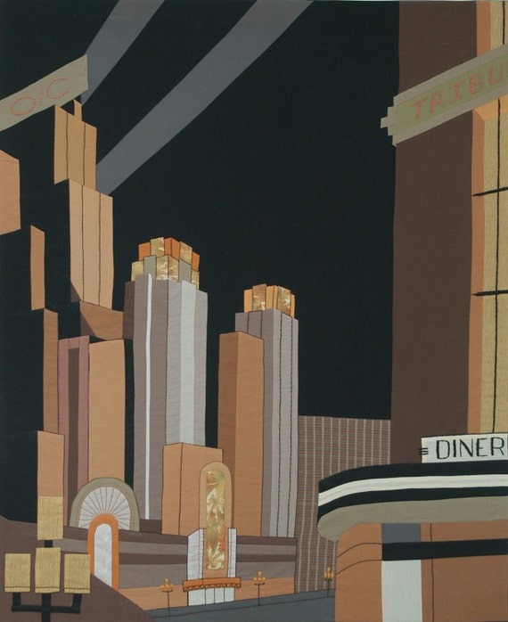 Art Deco Framed Fabric Cityscape