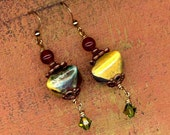 Reserve listing for Carol - Ancient Times Statement Earrings of Terra Cotta, Carnelian and Crystals