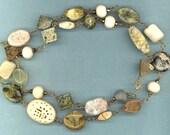 Splendor in the Grass Statement Necklace of Jasper, Resin, Serpentine, Jade, etc.
