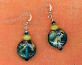 Make Mine with Lime Statement Earrings of Teal Lampworked Art Glass, Lime Jade and Swarovski Crystals