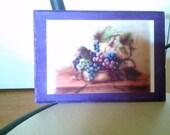 5 by 7 purple painted wood frame decoupaged grape print