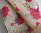 Beautiful beige scarf / hijab / shawl with large red flowers