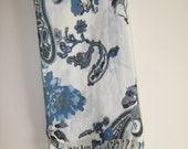Blue and White Paisley and Floral Scarf / Hijab / Shawl