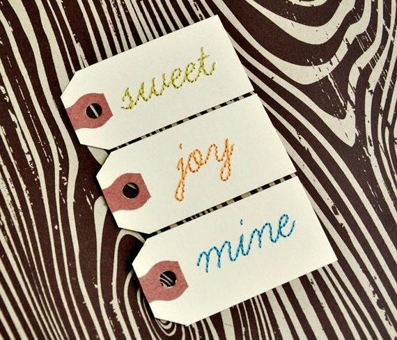 Set of three handstitched tags. SWEET, JOY, MINE.