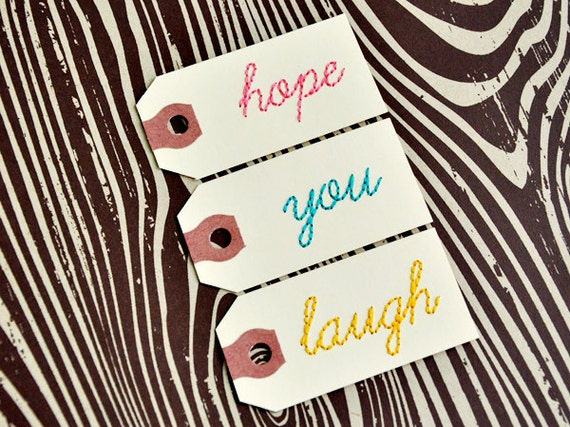 Set of three handstitched tags. HOPE, YOU, LAUGH
