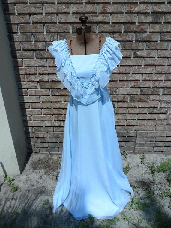 Vintage Light Blue 1980s Dress