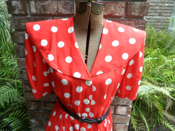 Vintage 1980s Polka Dot Red & White Dress-Pin Up/Rockabilly Style Dress