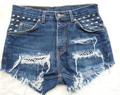 "Vintage Studded Dark Wash Levi's Ripped, Frayed Cut Off Denim Shorts - ""LA Is My Lady"" LARGE"