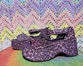 Sale Vintage 90s Purple Platform Fuzzy Club Kid Grunge Cheetah Print Shoes Chetah Girls Sandals