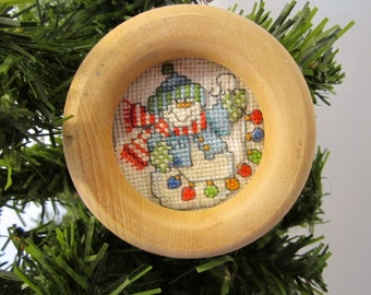 Snowman with Christmas Lights Christmas Tree Ornament