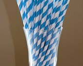 100 Sea Blue Striped CAKE POP STICKS . Candy Pixie Paper Straws with Blank diy Printable Flags ready to fill