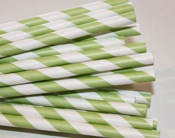 25 Mint Green Striped Paper Straws