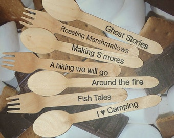 Wood Spoons and Forks - 30 SETS CAMPfire,  Hand Stamped By Lola , Camping, Bon Fires, Smores, Campfire,Fishing, Tents, Ghost, Party