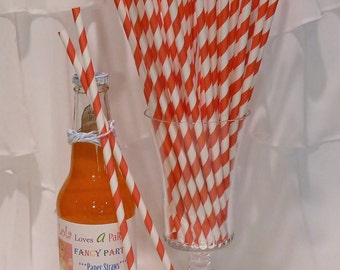 50 LONG Candy Apple RED Striped Straws and Lola's CUSTOM Straw Flags - 10 1/2 Inches   Tall Soda Bottles -  Party, Beverage Bar, Made In Usa