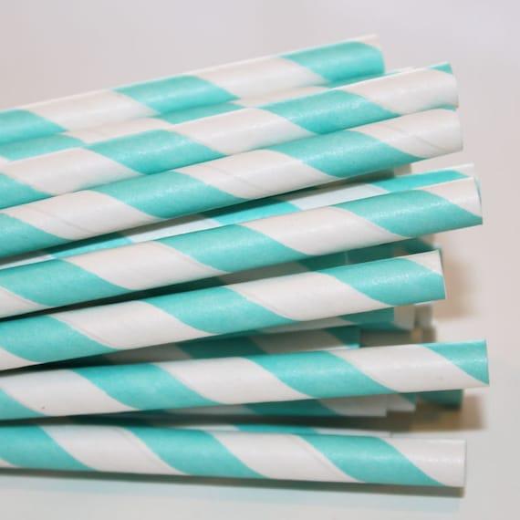 75 Aqua Striped Paper Straws, Party, Wedding, Baby, Events