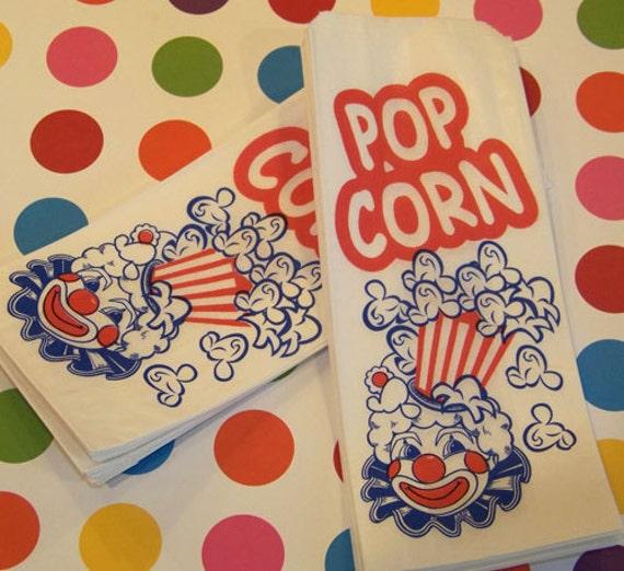 25 Retro Vintage Clown Popcorn Bags, Party, Concessions, Food, Carnival, CIr