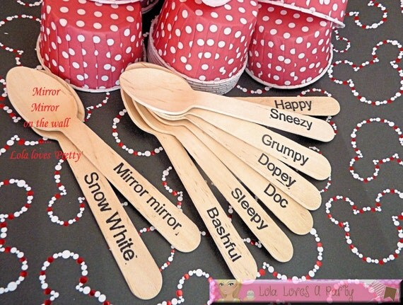 18 Wood Spoons Snow White 7 Dwarfs Princess Party Disney Wooden Utensil Choice Spoons or Forks- , Ice Cream Spoons, Eco Friendly