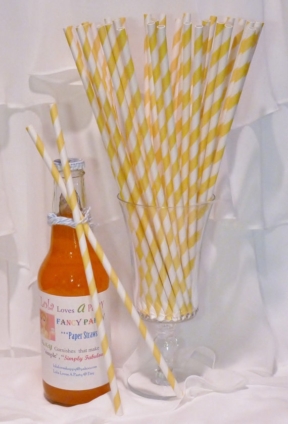 30 LONG YELLOW Striped Straws with DIY Custom Straw Flags - 10 1/2 Inches long Tall Soda Bottles - Wedding, Party, Beverage Bar, Made In Usa