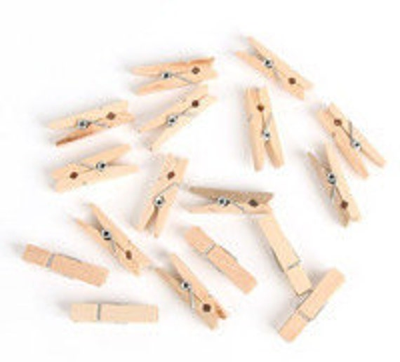 30 Wood Mini Clothespin - Small Natural Wood Clip - Photo clip