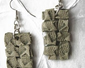 jewelry earrings woven paper clay in 'ancient' green