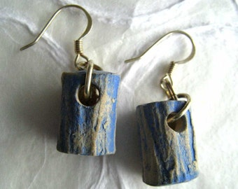 jewelry earrings medium blue textural tubes in paper clay
