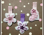 Pick any 1 Flower or Heart shaped Babies Toddler & Little Girls Pink Purple Hair Bows on Alligator clips with appliques