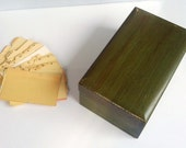 Old Vintage Wooden Green Box for receipts and files
