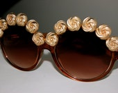 Oversized Round Circle Customised Brown Sunglasses