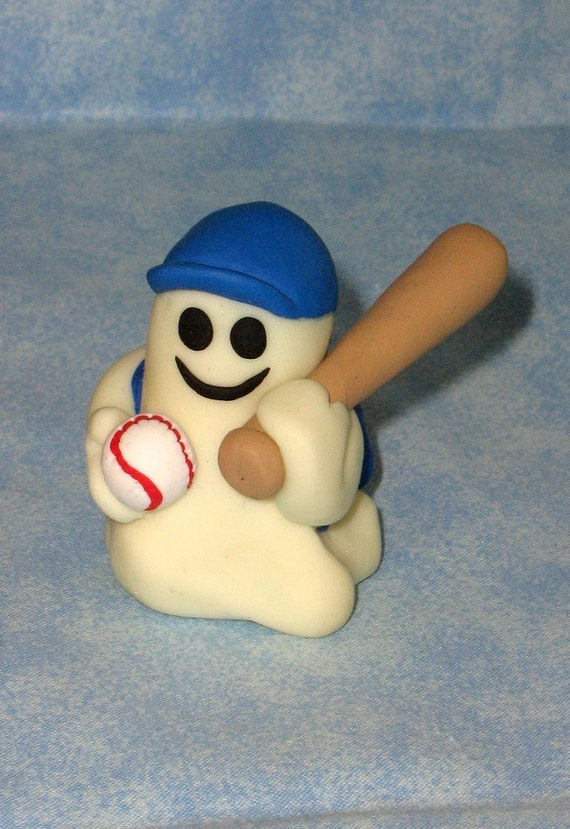 Glow In The Dark Friendly Ghost Baseball Boy Figurine