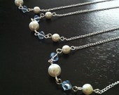 6 Baby Blue Bridesmaid Necklaces, Set of 6 Blue Bridesmaid Necklaces, Bridesmaid Pearl Necklaces 0085
