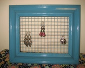 Jewelry Organizer: Turquoise Frame with matching netting for jewelry organization. Earring Display.
