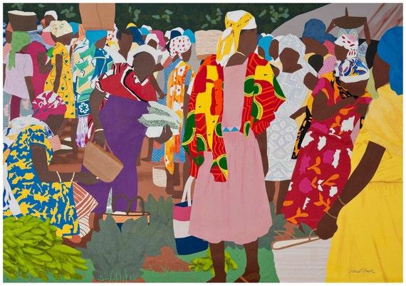 """African Market: Art Print  20"""" x 28"""""""