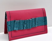 Card, Credit Card, Mini 4 pocket Wallet in Pink with Turquoise Vegan Leather