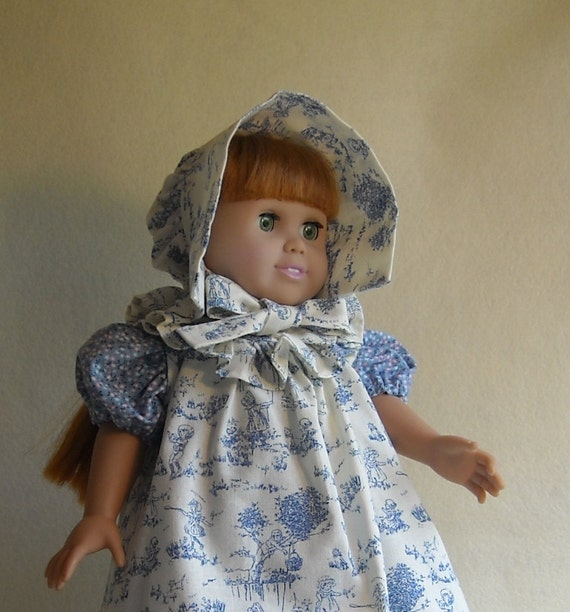 Blue and White Toile Sunbonnet