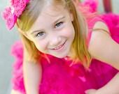 Shocking Pink shabby chic chiffon rosette bow headband-Newborn baby toddler- Photo Prop
