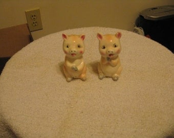 Collectible Ceramic Pig Figurine Salt and Pepper Shakers