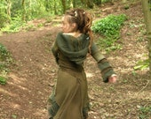 Stunning Green Forest Fairy/Pixie Tribal Hippy Boho Elfen Upcycled/Recyled Hooded Coat