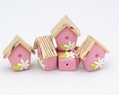 4 Birdhouse beads Polymer clay Pink