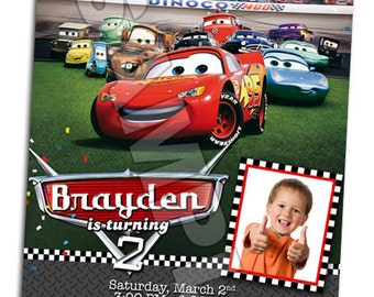 Disney Pixar Cars Lightning Mcqueen Mater Birthday Party Photo Invitations - Printable